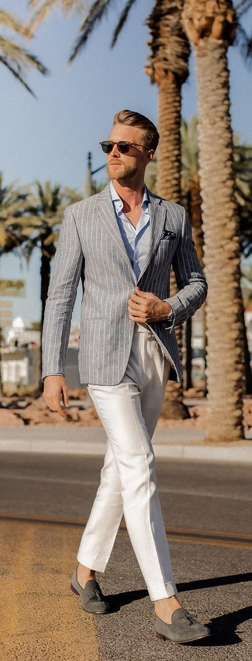 Pinstripe Blazer, Shirt, Chinos and Loafers- Smart Casual Dress for Men