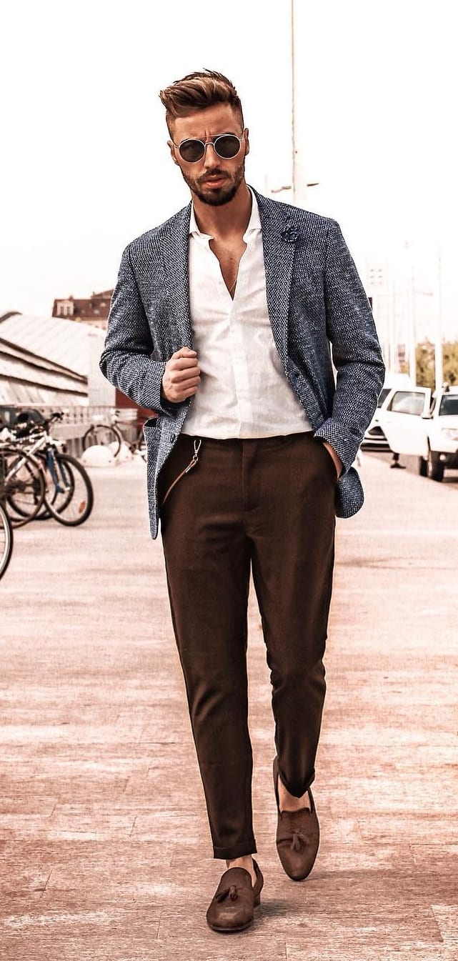 Smart Casual Outfit for men- Brown Chinos, White Shirt and Blazer