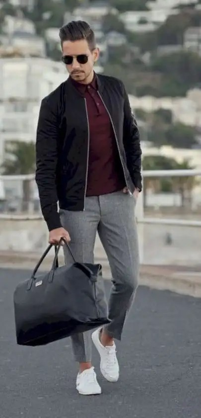 Black Bomber Jacket , Grey Chinos Outfit for men
