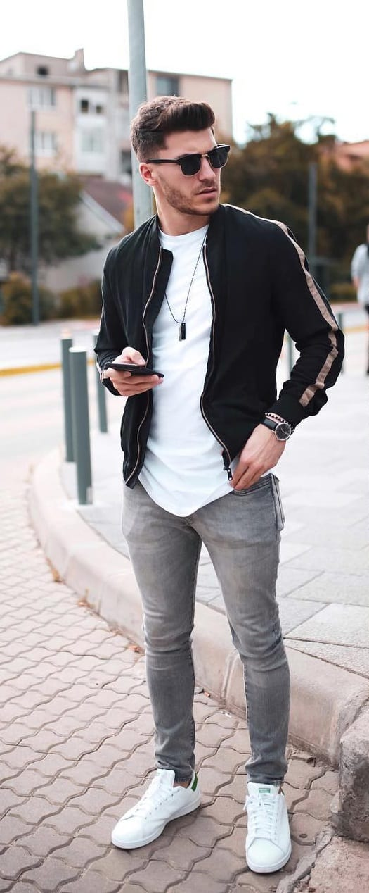 Black Bomber With Grey Denims outfit for men