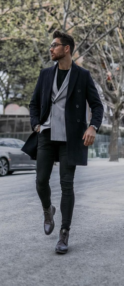 Black Overcoat Outfit for Men