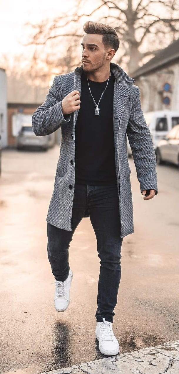 Black Tshirt, Black jeans and Overcoat Outfit for Men
