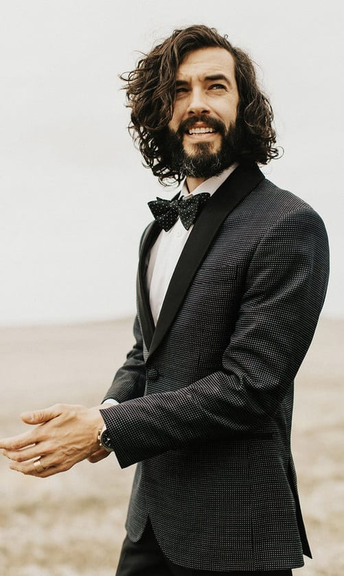 Black Tuxedo Suit, White Shirt and Bow Tie for the Groom