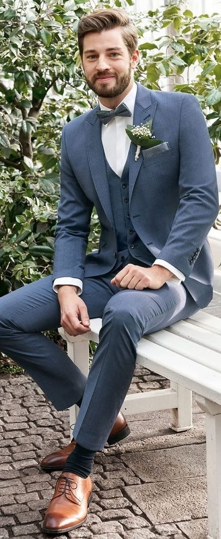 Blue Suit Outfit for Grooms