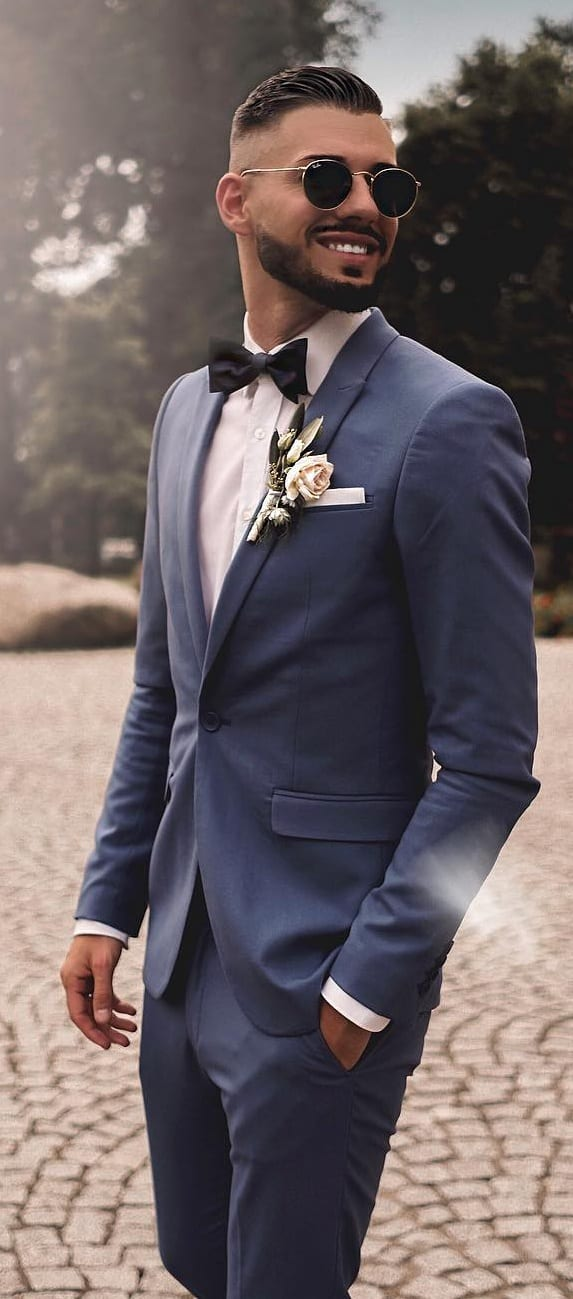 Blue Suit, White Shirt,Bow tie and lapel flower