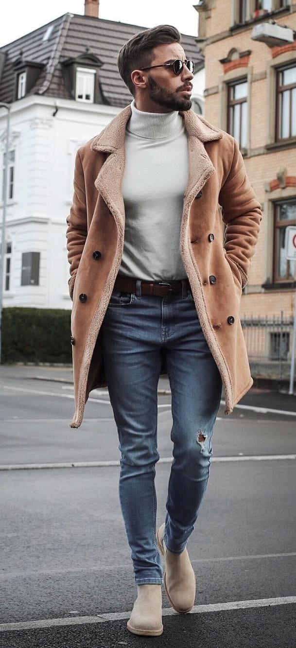 Brown Overcoat,Round Neck and Denims