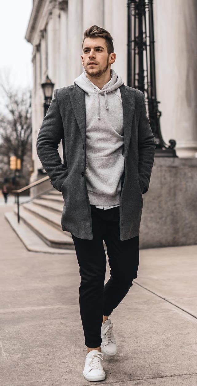 Grey Hoodie with Charcoal Overcoat Outfit for Men