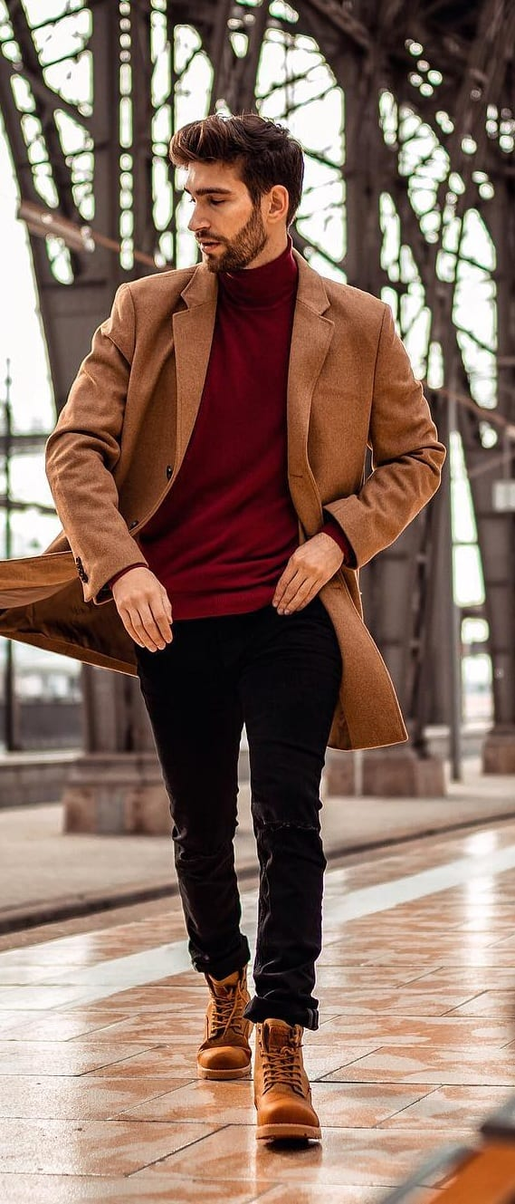 Mustard Yellow Coat, Red Round Neck Sweater and Jeans Outfit for men