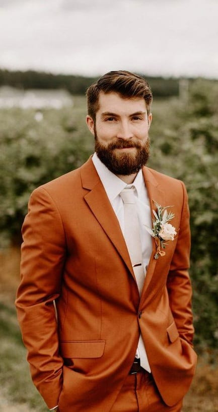Orange Wedding Suit Ideas for Grooms