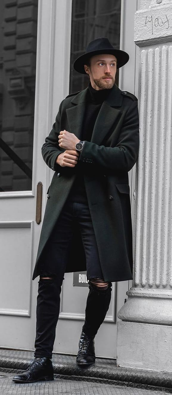 Overcoat,Ripped Denim and Hat- A complete Fall Outfit for Men