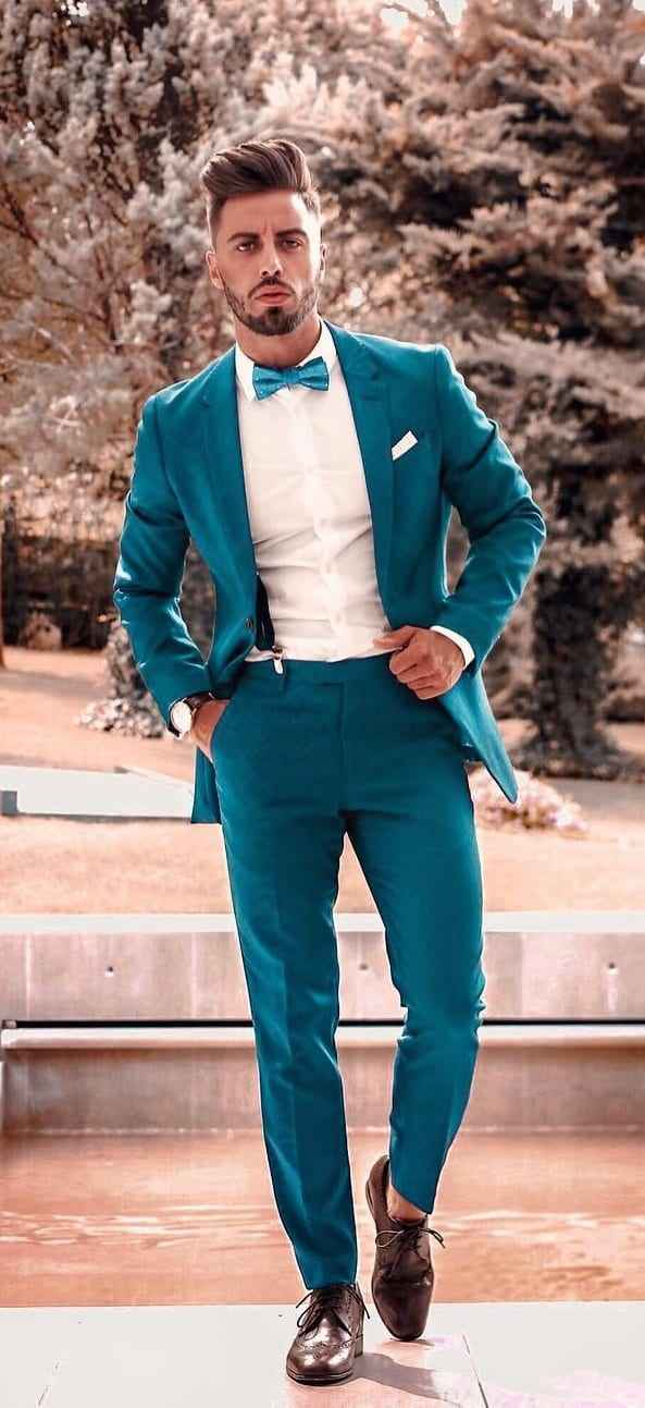 Turquoise Blue Suit, White Shirt and A Bow Tie