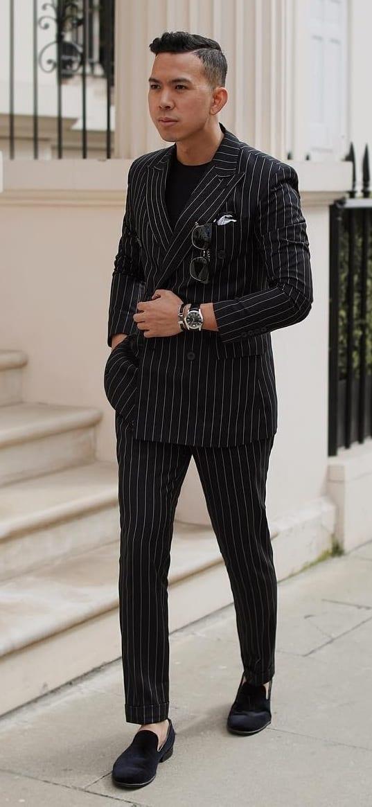 Black Pinstripe Suit Outfit Ideas for Men