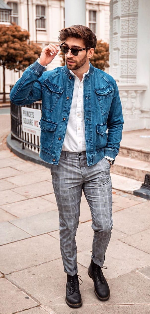 Blue-Denim-Jacket-Plaid-Trousers