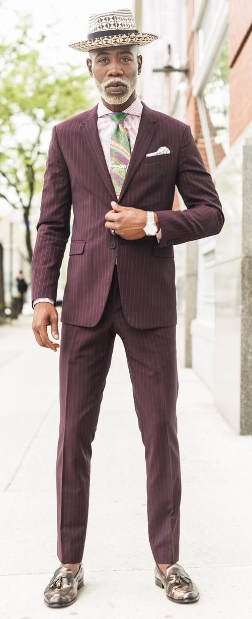 Maroon Pinstripe Suit Outfit Ideas