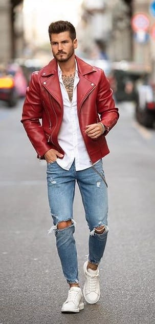 Red Leather Jacket For Mens Winterwear