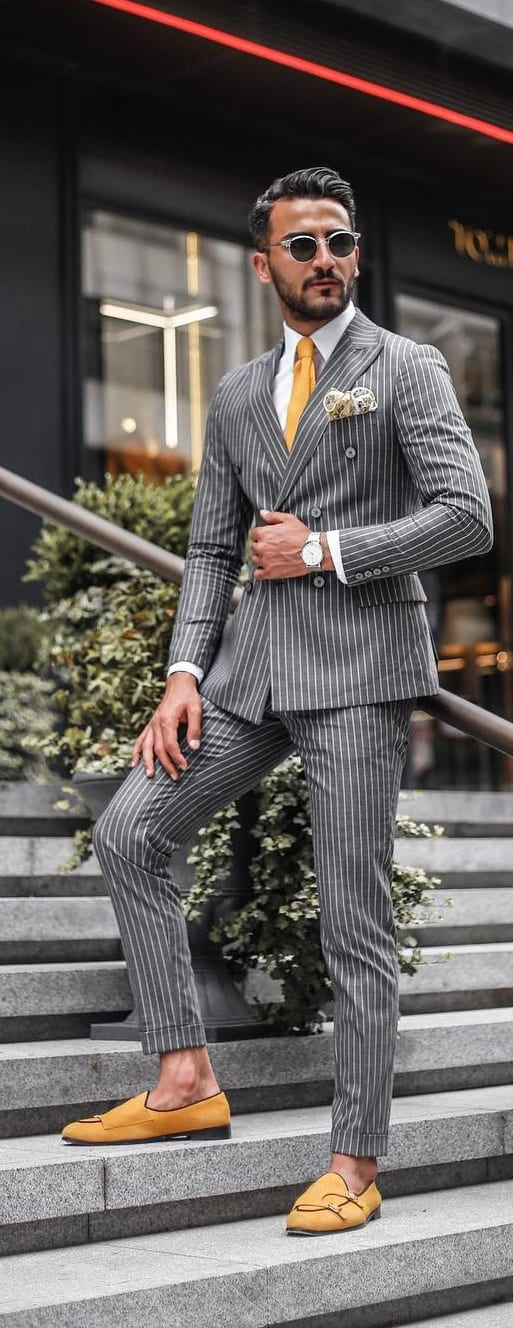 Grey Striped Suit Mens Outfit