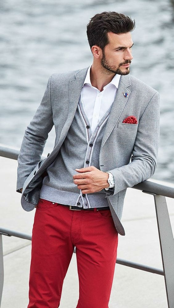 Grey-Cardigan-styled-with-Grey-Blazer-White-Shirt-and-a-pair-of-Red-jeans-which-is-looking-amazing-1