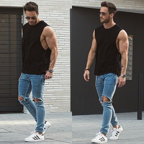 Street-style-look-with-this-Black-Tank-styled-with-Blue-Ripped-Jeans-and-a-pair-of-White-Sneakers-1