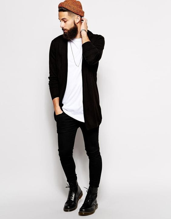 Super-Nylon Cradigan Style-With-White-T-Shirt-Black Jeans-Jeans-And-a-Pairs-About-Black-Boots-1