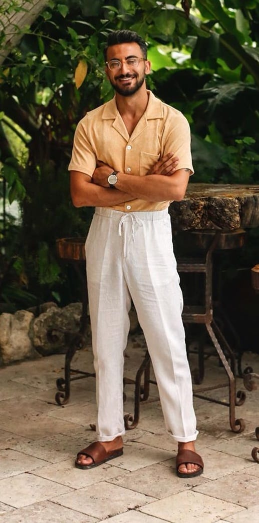 Cuban Collar Shirt and White Trouser Outfit 2020