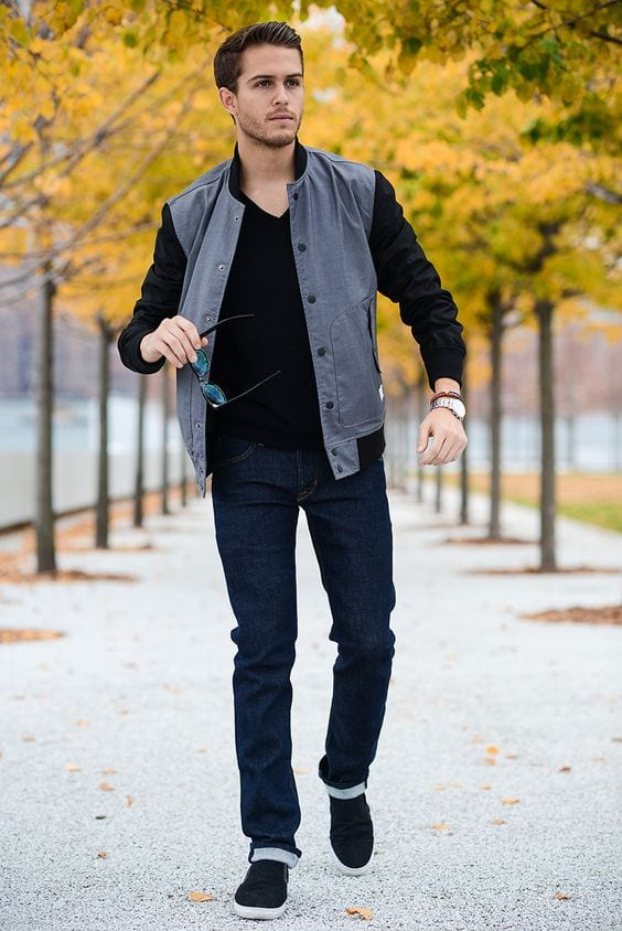 Off-Business-ocassion-Grey-Bomber-Jacket-Black-V-neck-Sweater-Navy-Jeans-and-a-pair-of-Black-Slip-on-Sneakers-1