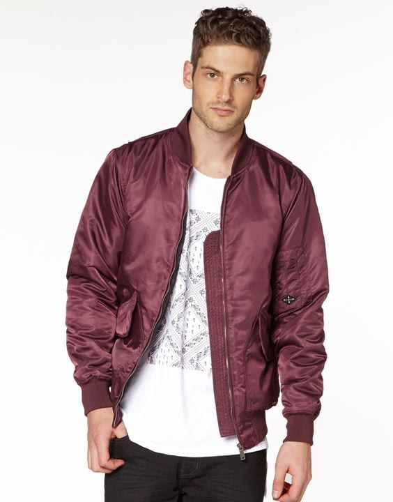 maroon-bomber-jacket-styled-with-white-printed-tshirt-black-jeans-for-men