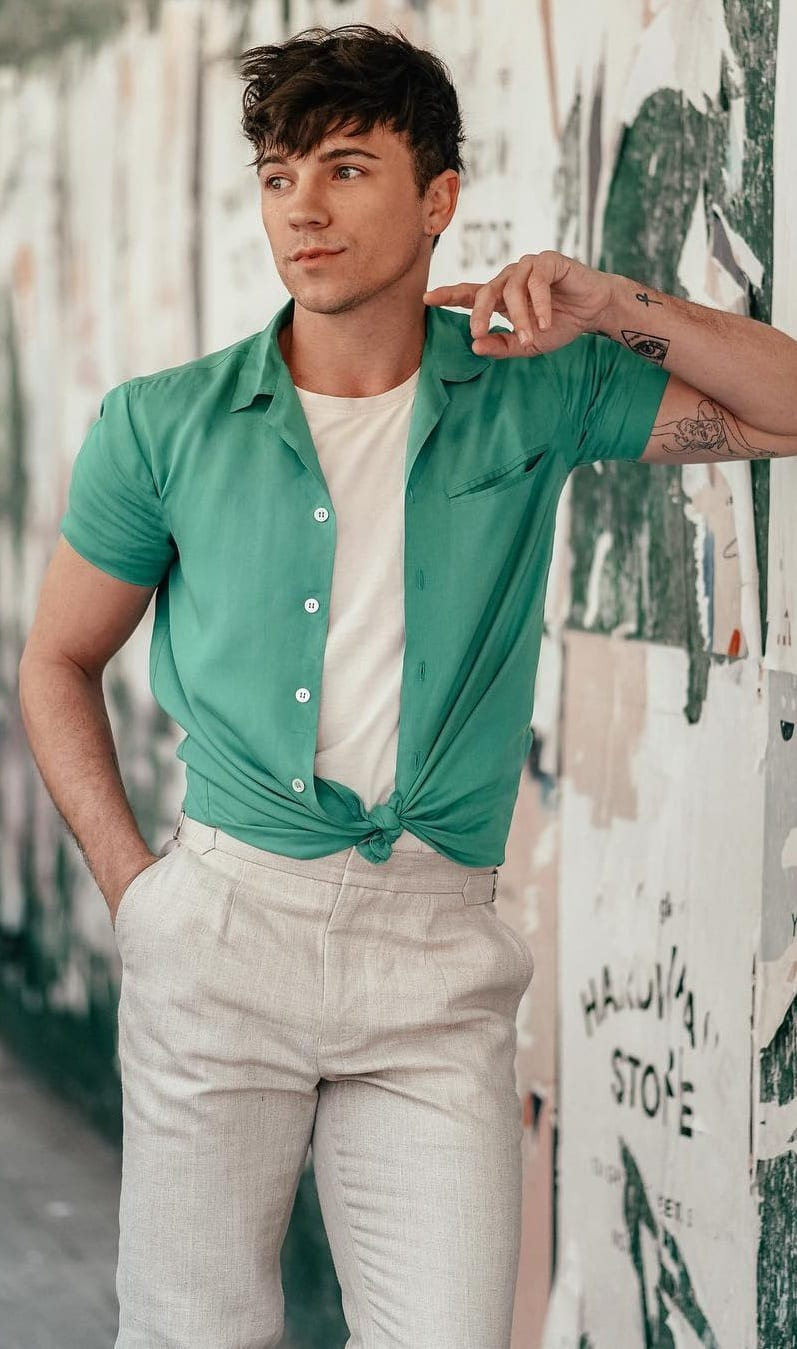 Cuban Collar Shirt-Tee- Chinos Outfit-Ideas