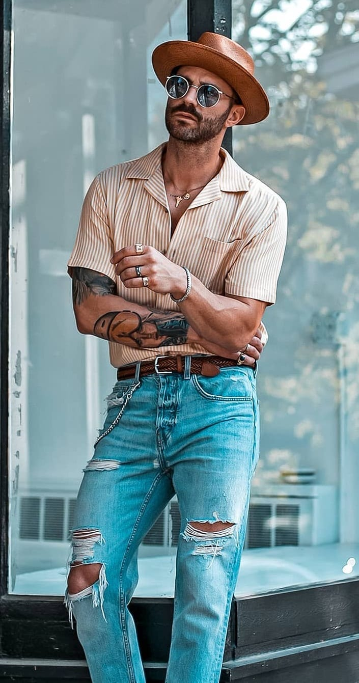 Cuban Collar Shirt styled with Ripped Denims, a hat and sunglasses