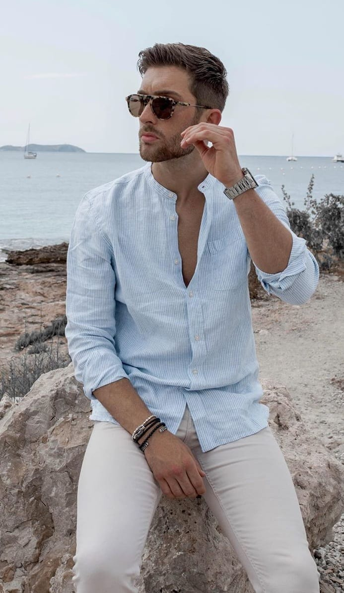 Light Blue Linen Shirt And White Chinos Outfit