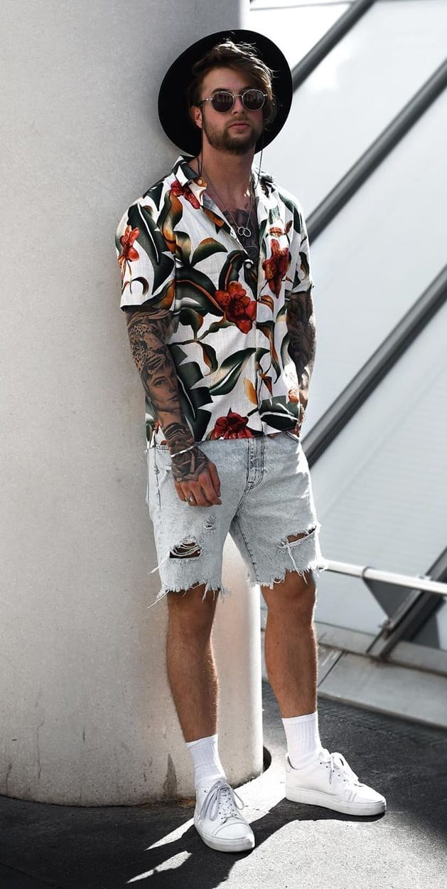 Floral Shirt- Denim Shorts-Outfits-for-Summer