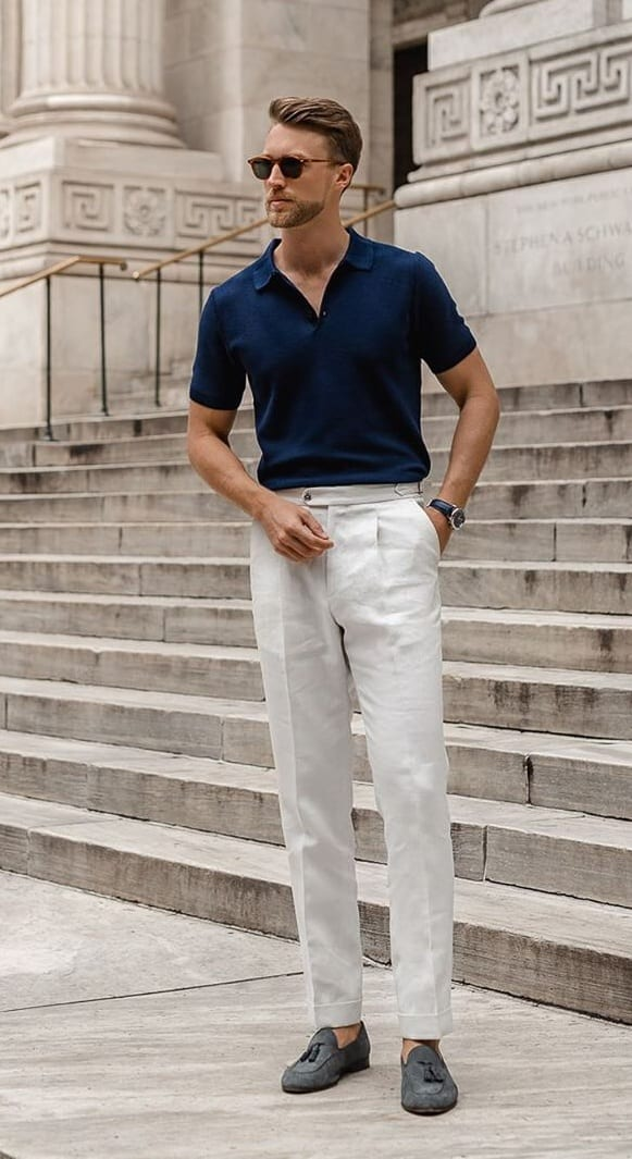 Polo Shirt- Trousers Summer Outfit Combinations