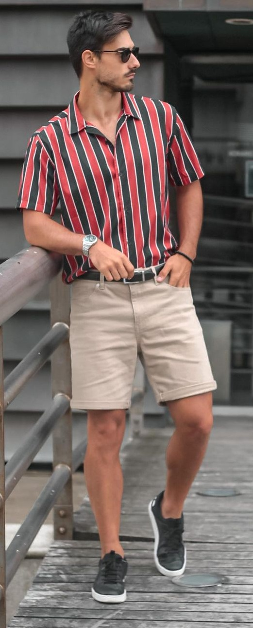 Striped Shirt and Bermuda Shorts for Summer