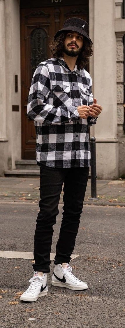 Black and White Plaid Shirt Outfit For Fall