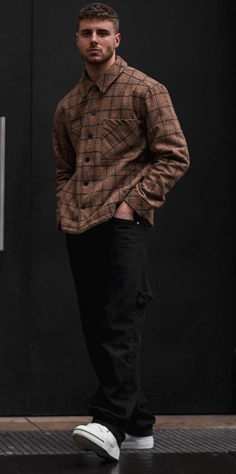 Cool Check Shirt Outfit Styled With Baggy Pants