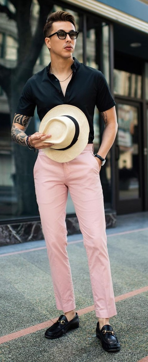 Black Shirt- Pink Chinos Outfit For Cool and Casual Look