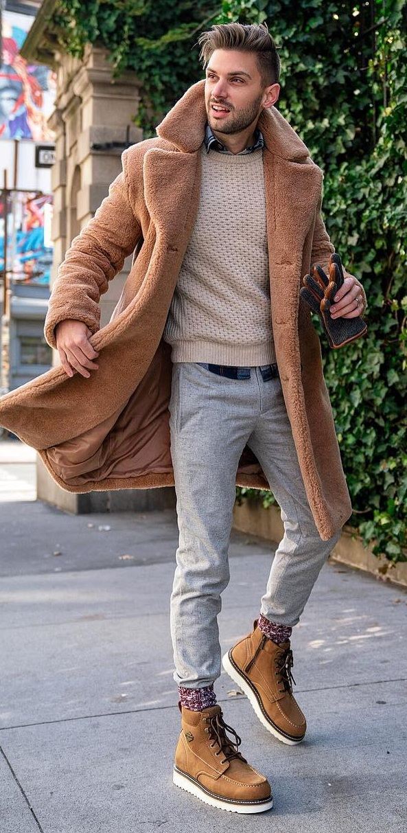 Shirt layered with sweater and teddy fur coat and paired with boots