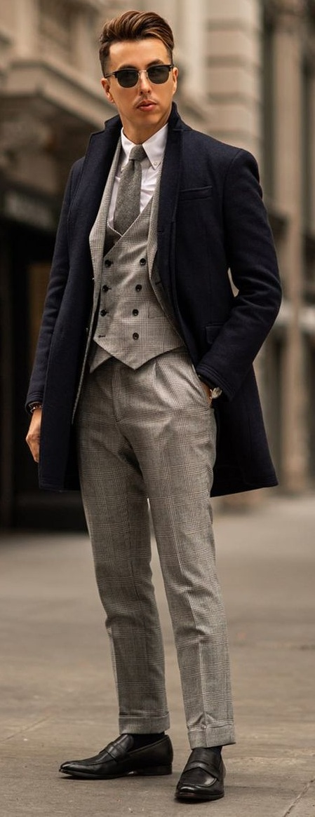 Three Piece Blazer Suit And Overcoat Outfit For Winter