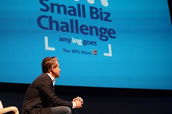 Robert Herjavec onstage observing contestants at The UPS Store 2019 Small Biz challenge