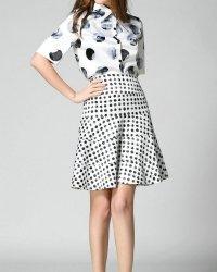 Summer-Fashion-2-Pieces-Women-Set-Dress-Print-Tops-Polka-Dot-Dress-Vestido-De-Renda-Spring