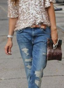 Sparkle shirt and jeans.