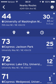 The Transit App Nearby Routes