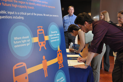 Public involvement event for updating the LRP, courtesy of Sound Transit.