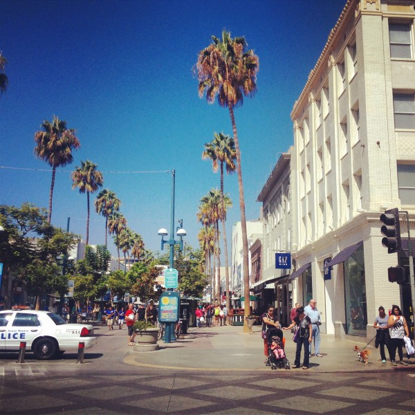 The Santa Monica Third Street Promenade with arcades, vendors, fountains, street performances, and more.