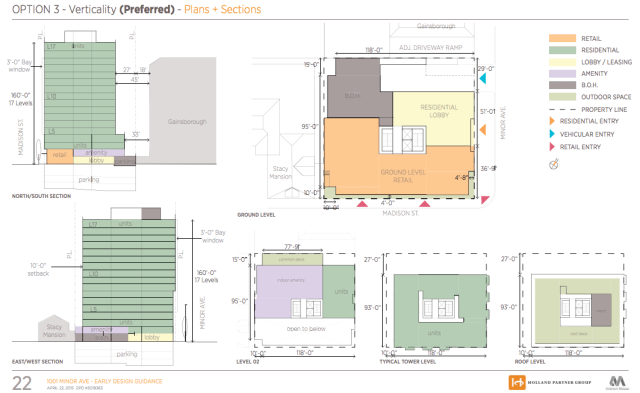 Elevation and floor plans of the development site, courtesy of DPD.