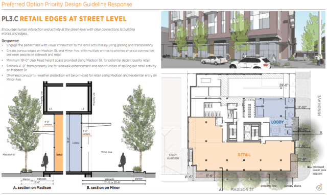 Retail and streetscape sections, courtesy of DPD.