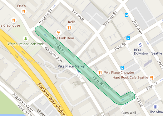 Pike Place Market restriction area in green.
