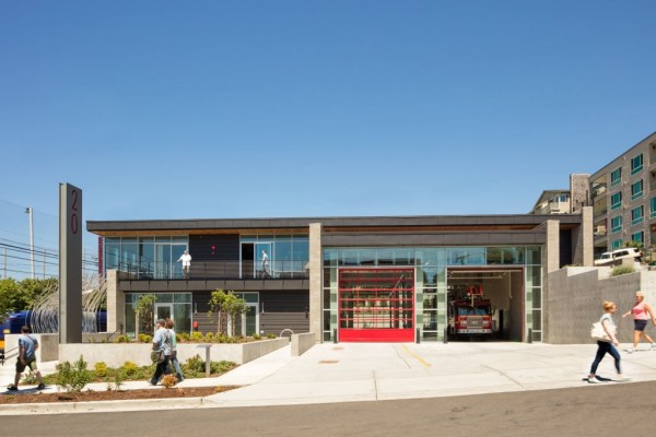 Fire Station 20 creates a civic presence, featuring a new sidewalk to enhance local connections, landscaping and public art. Photo by Lara Swimmer, courtesy of Schacht Aslani Architects.