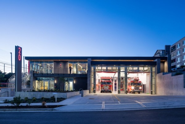 The building features efficient LED lights and expansive windows to optimize natural light during the day. Photo by Lara Swimmer, courtesy of Schacht Aslani Architects.
