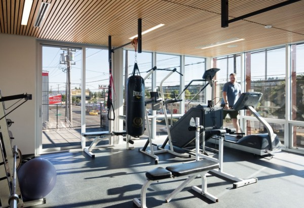 The physical training room. Photo by Lara Swimmer, courtesy of Schacht Aslani Architects.