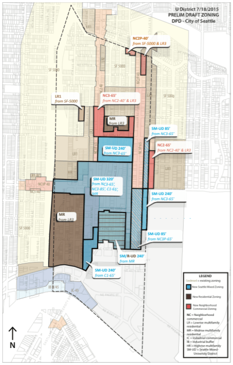 Preliminary draft zoning changes within the University District. (City of Seattle)